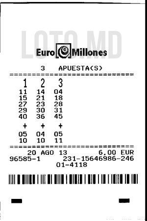 Bilet loto euromilions
