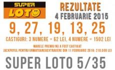 Rezultate super loto 5/35 din 4 Februarie 2016